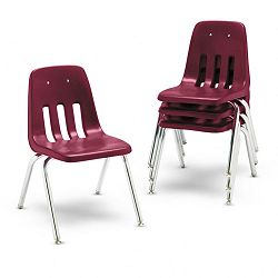 "9000 Series Classroom Chairs 16"" Seat Height WineChrome 4Carton (VIR901650)"