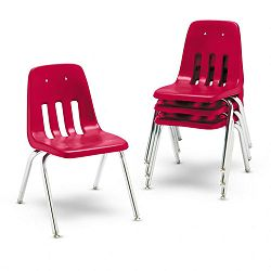 "9000 Series Classroom Chairs 16"" Seat Height RedChrome 4Carton (VIR901670)"