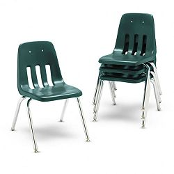 "9000 Series Classroom Chairs 16"" Seat Height Forest GreenChrome 4Carton (VIR901675)"