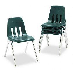 "9000 Series Classroom Chair 18"" Seat Height Forest GreenChrome 4Carton (VIR901875)"