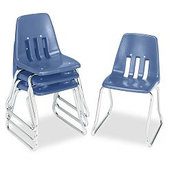"9600 Classic Series Classroom Chairs 14"" Seat Height BlueChrome 4Carton (VIR961440)"