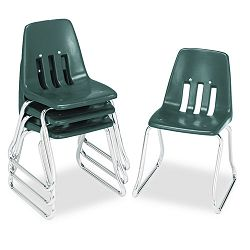 "9600 Classic Series Classroom Chairs 14"" Seat Height Forest GreenChrome 4CT (VIR961475)"