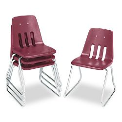 "9600 Classic Series Classroom Chairs 16"" Seat Height WineChrome 4Carton (VIR961650)"