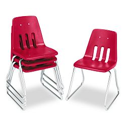"9600 Classic Series Classroom Chairs 16"" Seat Height RedChrome 4Carton (VIR961670)"