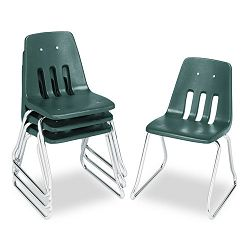 "9600 Classic Series Classroom Chairs 14"" Seat Height Forest GreenChrome 4CT (VIR961675)"