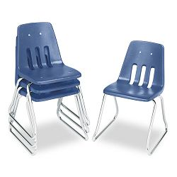 "9600 Classic Series Classroom Chairs 18"" Seat Height BlueChrome 4Carton (VIR961840)"
