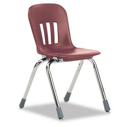 "Metaphor Series Classroom Chair 14-12"" Seat Height WineChrome 5Carton (VIRN914RED50CHM)"
