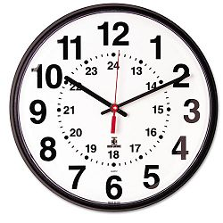 Quartz 12-24 Hour Wall Clock 12-34in Black 1 AA Battery (ILC67300040)