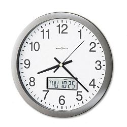 Chronicle Wall Clock with LCD Inset 14in Gray (MIL625195)