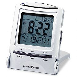 Distant Time Traveler Alarm Clock 2-14in Silver 1 AAA (incl) (MIL645358)