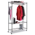Wire Shelving Garment Rack Black Steel Stand Alone Rack Five Hooks (ALEGR354818BL)