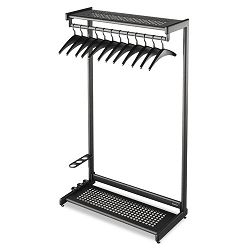 "48"" Wide Single-Sided Rack wTwo Shelves 16 Hangers Steel Black (QRT20224)"