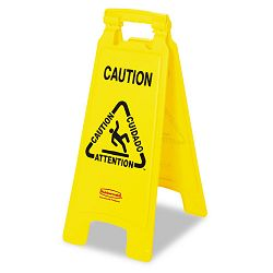 "Multilingual ""Caution"" Floor Sign Plastic 11 x 1-12 x 25 Bright Yellow (RCP611200YW)"