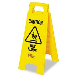 """Caution Wet Floor"" Floor Sign Plastic 11 x 1-12 x 25 Bright Yellow (RCP611277YW)"