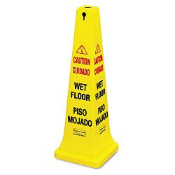 Four-Sided Caution Wet Floor Yellow Safety Cone 12-14 x 12-14 x 36h (RCP627677)