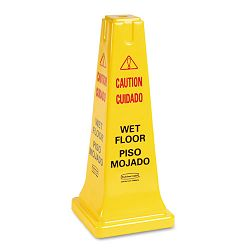 Four-Sided Caution Wet Floor Safety Cone 10-12w x 10-12d x 25-58h Yellow (RCP627777)