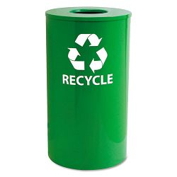 IndoorOutdoor Round Steel Recycling Receptacle 33 gal YellowGreen (EXCRC33YGR)