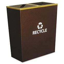 Metro Collection Recycling Receptacle Double Stream Steel 36 gal Brown (EXCRCMTR2HCP)