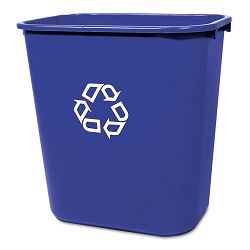 Medium Deskside Recycling Container Rectangular Plastic 28 18 qt Blue (RCP295673BE)