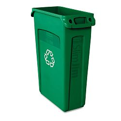 Slim Jim Recycling Container wVenting Channels Plastic 23 gal Green (RCP354007GN)