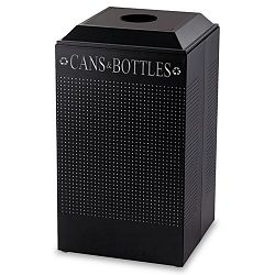 Silhouette CanBottle Recycling Receptacle Square Steel 29 gal Black (RCPDCR24CTBK)