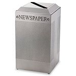 Silhouette Paper Recycling Receptacle Square Steel 29 gal Silver Metallic (RCPDCR24PSM)
