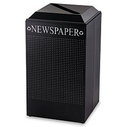 Silhouette Paper Recycling Receptacle Square Steel 29 gal Textured Black (RCPDCR24PTBK)