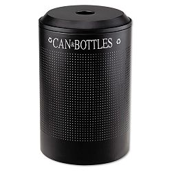 Silhouette CanBottle Recycling Receptacle Round Steel 26 gal Textured Black (RCPDRR24CTBK)
