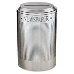 Silhouette Paper Recycling Receptacle Round Steel 26 gal Silver Metallic (RCPDRR24PSM)
