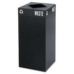 Public Square Recycling Container Square Steel 31 gal Black (SAF2982BL)