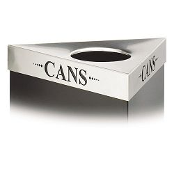 "Trifecta Waste Receptacle Lid Laser Cut ""CANS"" Inscription Stainless Steel (SAF9560CZ)"