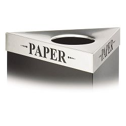 "Trifecta Waste Receptacle Lid Laser Cut ""PAPER"" Inscription Stainless Steel (SAF9560PA)"