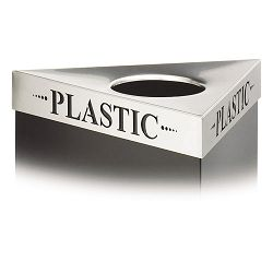 "Triangular Lid For Trifectat Receptacle Laser Cut ""PLASTIC"" Inscription STST (SAF9560PC)"