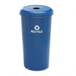 Tall Recycling Receptacle for Cans Round Steel 20 gal Recycling Blue (SAF9632BU)