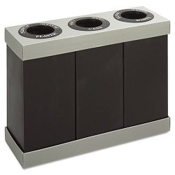 At-Your-Disposal Recycling Center Polyethylene Three 28-gal Bins Black (SAF9798BL)