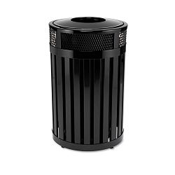 Avenue Small Open Top Waste Receptacle Round Steel 23 gal Black (RCPMH24PLBK)