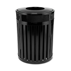 Avenue Large Open Top Waste Receptacle Round Steel 37 gal Black (RCPMH46PLBK)