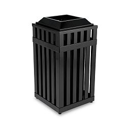 Avenue Open Top Waste Receptacle Square Steel 16 gal Black (RCPMHSQ18PLBK)