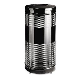 Classics Perforated Open Top Receptacle Round Steel 25 gal Black (RCPS3ETBK)