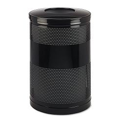 Classics Perforated Open Top Receptacle Round Steel 51 gal Black (RCPS55ETBK)