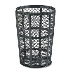 Steel Street Basket Waste Receptacle Round Steel 48 gal Black (RCPSBR52EBK)