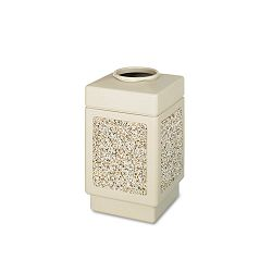 Canmeleon Top-Open Receptacle Square AggregatePolyethylene 38 gal Tan (SAF9471TN)