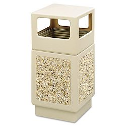 Canmeleon Side-Open Receptacle Square AggregatePolyethylene 38 gal Tan (SAF9472TN)