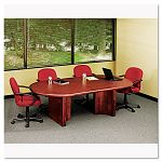 "OfficeWorks Executive Series 120"" Racetrack Table Top 120"" x 48"" Mahogany (ICE69498)"