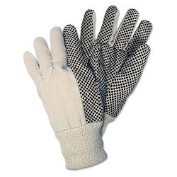Dotted Canvas Gloves White 1 Dozen (CRW8808)