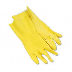 Flock-Lined Latex Cleaning Gloves Large Yellow 1 Dozen (BWK242L)