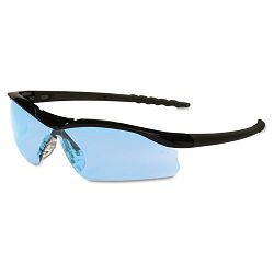 Dallas Wraparound Safety Glasses Black Frame Light Blue Lens (CRWDL113)