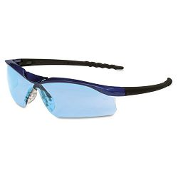 Dallas Wraparound Safety Glasses Blue Metallic Frame Light Blue Lens (CRWDL313)