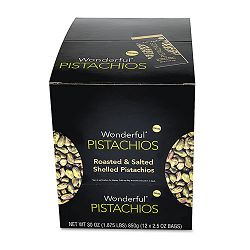 Wonderful Shelled Pistachios Roasted & Salted 2.5 oz. Pack Box of 12 Packs (PAM070146W2E)