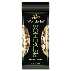 Wonderful Pistachios Dry Roasted & Salted 1.5 oz Pack Box of 24 Packs (PAM072142WE2)